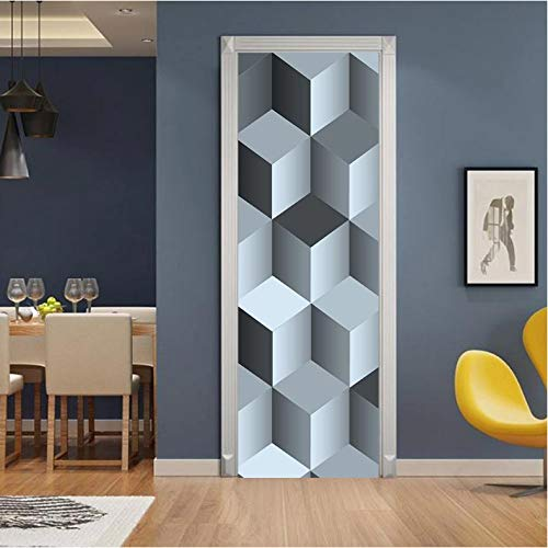 laonieshangmao Pegatinas De Puerta Nuevo Arte Creativo Cubo De Rubik 3D para Sala De Estar Dormitorio PVC Autoadhesivo DIY Impermeable Mural Decoración para El Hogar Calcomanías 95X215Cm