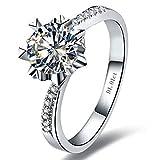 BQZB Anillo Brillante Estilo de Copo de Nieve Diamantes sintéticos Anillo de Compromiso para Mujer...