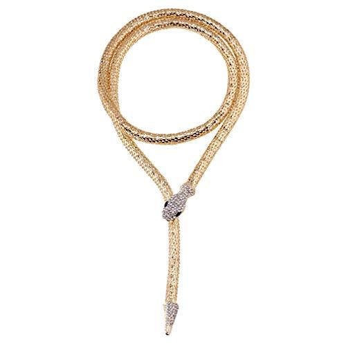YAZILIND Mujer Serpiente Forma Neckchain pedrería Recubierto de Oro imán Personalizado Joyas Brillantes Accesorios (#1)