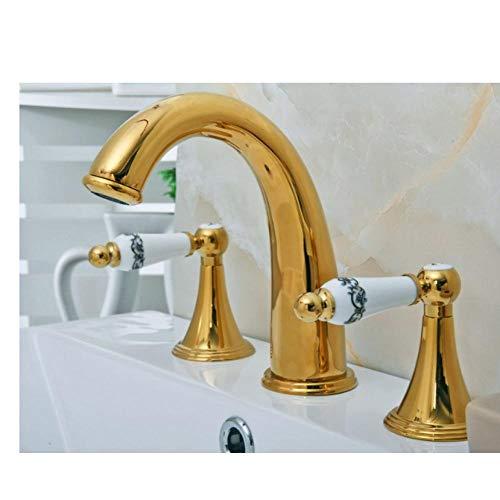Rubinetto del bacino Rubinetto montato sul ponte 3 fori Vasca da bagno Rubinetto Miscelatore Colore oro Ottone lucido Diffuso 2 maniglie Rubinetto del bagno