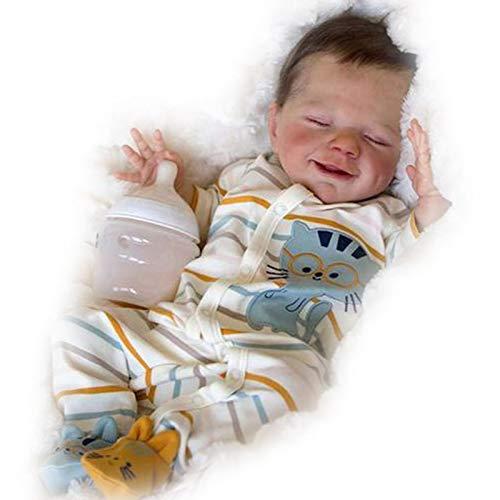 Reborn Puppe Puppen Lebensecht Vollsilikon Baby Silikon Ganzkörper Die Sehr Echt Aussehen Korper Mit Magnetischem Schnuller,Boy