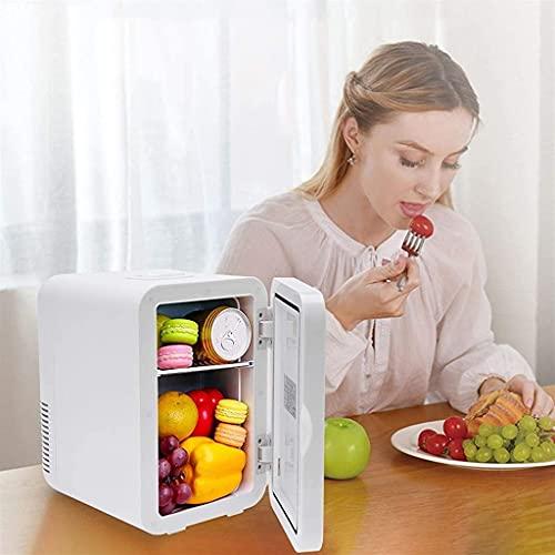 Mini frigorífico pequeño Mini nevera para dormitorio, mini refrigerador 8L, enfriador termoeléctrico compacto portátil y más cálido, adecuado para oficina, viajes y familiares, camping y más (blanco)