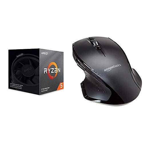AMD Ryzen 5 3600X, Processore PC, 6 core, 12 thread, 4,4 GHz, Socket AM4 & AmazonBasics Mouse wireless ergonomico fullsize con scrolling rapido