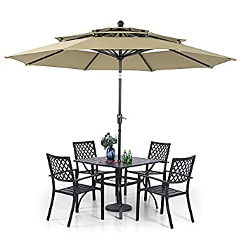 PHI VILLA Outdoor Dining Set 5 PCS with 10ft 3-layer Round Umbrella Beige ,1 Square 37 x 37 Dining Table,4 Bistro Chairs& 10ft Patio Umbrella