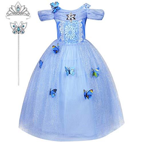 CosPrincely Princesa Disfraz Niña Carnaval Tul Vestido Largo Cosplay Fiesta Cumpleaños Halloween Navidad y Accesorios Tiara Varita