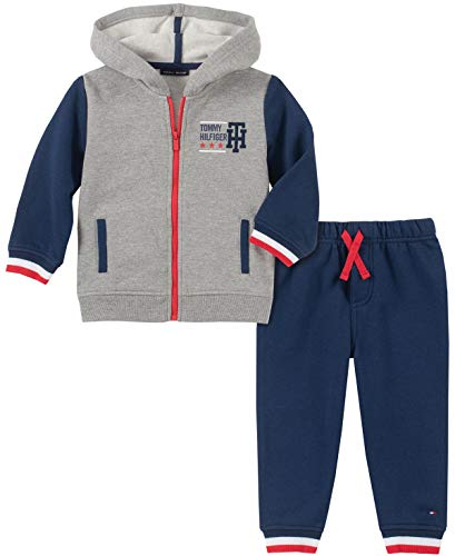 Tommy Hilfiger Baby Boys 2 Pieces Hooded Jog Set, Heather Gray/Navy, 6-9 Months