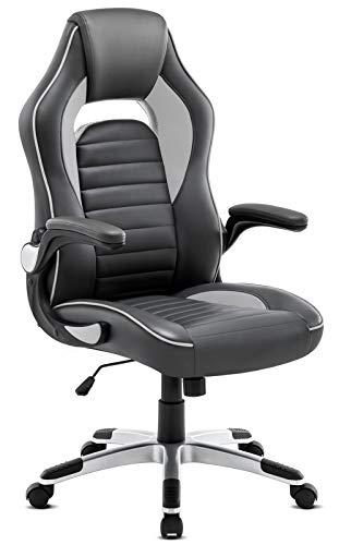 Sedia Ufficio con rotelle, Bracciolo Regolabile Inclinazione Schienale Alto di Pelle Poltrona da Ufficio Ergonomica Moderno Grigio