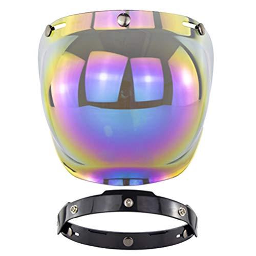 Helmvisier, Visier Bubble Jethelm 3 Knöpfen Retro Jet Custom Mechanismus Heben und Senken Universal Geeignet für alle Drei-Knopf-Helme