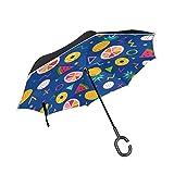 MASAI 逆さ傘 レモン スイカ パイナップル 長傘 逆折り式傘 逆転傘 自立傘 手離れC型手元 晴雨兼用 耐風 撥水加工 UVカット 遮光遮熱 ビジネス用 車用