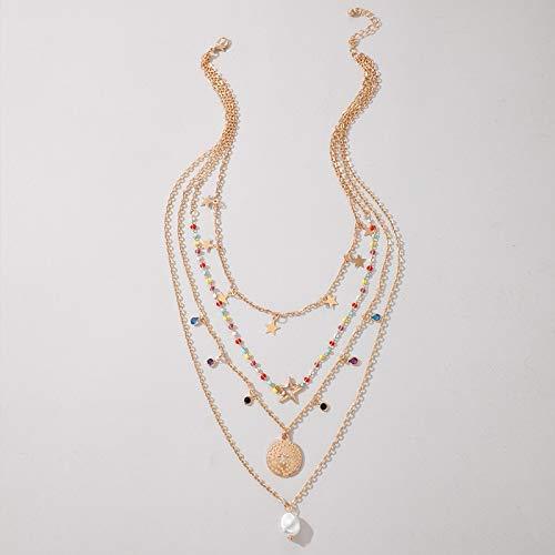 Collar de cadena de estrellas doradas únicas para mujer, collar con colgante de perlas acrílicas y joyería de moda bohemia (color de metal: color dorado)