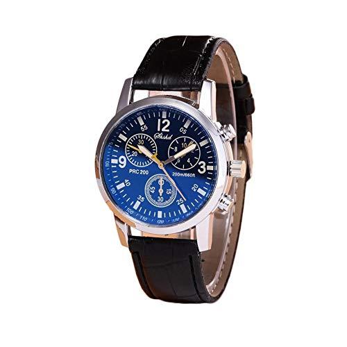 Relojes para hombre Reloj de pulsera de cuero vintage Reloj deportivo de cuarzo con hora de pulsera Reloj analógico Cinturón ajustable Reloj de cristal Blu-ray