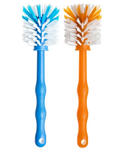 Deine Bürste 2er Set Spülbürste - Reinigungsbürste perfekt zum Reinigen von Mixbehälter von Küchenmaschinen, Standmixer usw. - Zubehör je (1x Blau/ 1x Orange)