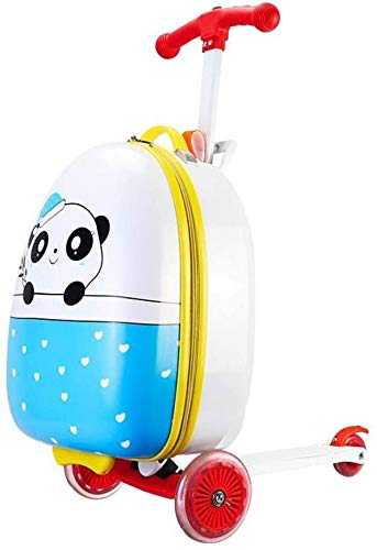 GEZHU Cartoon 16' Inch Child Scooter Suitcase Small Gift Cute Carry on Trolley Luggage Bag for Kid Suitcase on Wheels Rolling Luggage, panda Fun toys for children. (Color : Panda)