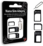 SIM Card Adapter Kit - 4 in 1 Nano Micro Standard Converter Kit with Steel Tray Eject Pin,Sim Card Tray Kit,Sim Card Removal Tool.