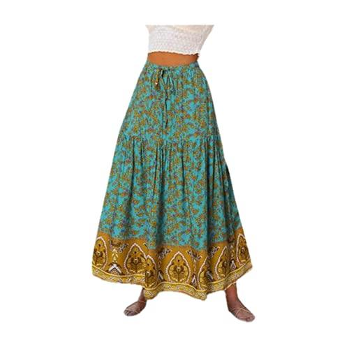 N\P Bohemia Mujeres Faldas Verano Impresión Maxi Faldas Casual Cintura Elástica