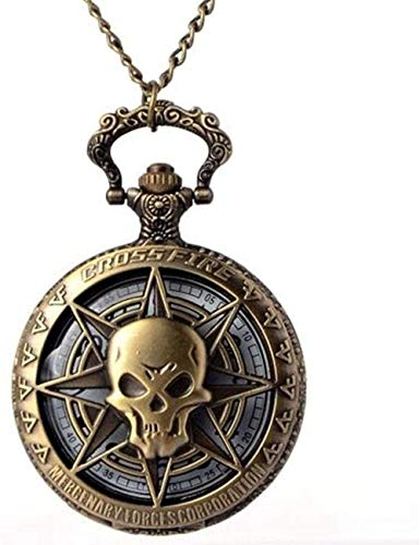 Pocket Watch Hollow Skull Head Horror with Chain for Men Women Pendant Necklace