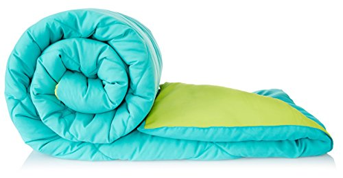 Amazon Brand - Solimo Microfiber Reversible Comforter, Double (Aqua Blue & Olive Green, 200 GSM)