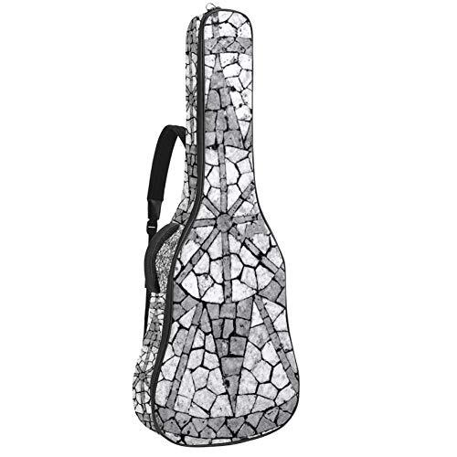 Mosaico en una acera portuguesa resistente al agua, tela Oxford con doble costura acolchado correas bolsa de transporte para guitarra acústica clásica 40 41 42 pulgadas