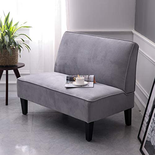 Best Cushioned Linen Armless Settee Loveseat Sofa Couch Home Casual Living Room Sleeper (Light Gray)