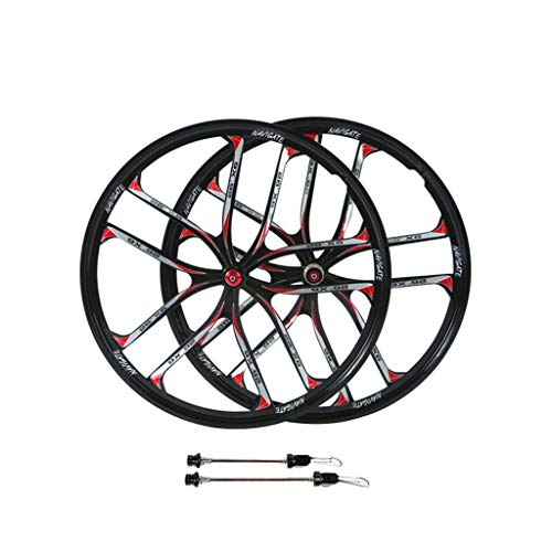 WHQ MTB Bike Wheels 26 Inch, Magnesium Alloy Integrated Cycling Wheelsets 10 Spokes Rim Disc Brake for 11 Speed Cassette Cycling (Color : Black, Size : 26in)