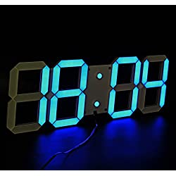 LambTown Large Blue Display Led Wall Clock with Remote Control Countdown Count Up Led Clock Timer with Temperature Date 6'' Led Digits Highly Visible for Home Gyms Church Sports Event