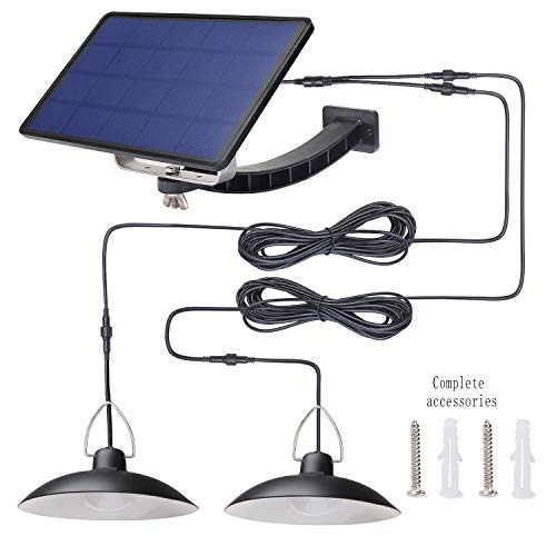 Solar Pendant Light with Dual Head Hanging Shed,Kyson 32 LED Outdoor Security Lights Auto ON Off for Porch Garage Storage Room Use