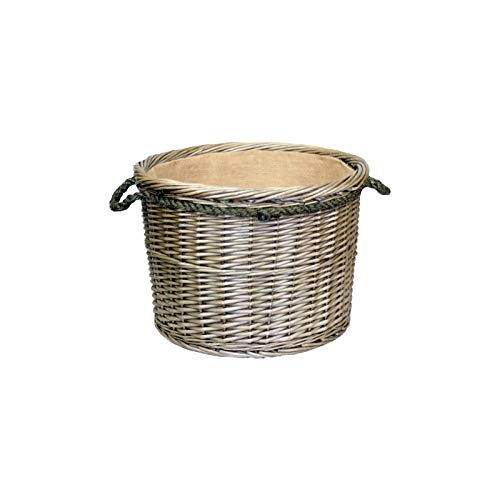 Antique Wash Round Wicker Log Basket Hessian Lined (Large)