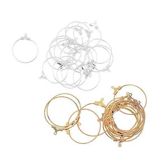F Fityle 40 Piezas de Pendientes de Bucle de Aro, Hallazgos de Fabricación de Joyas Chapados en Oro para Abalorios, Pendientes Colgantes, Accesorios de Bricola