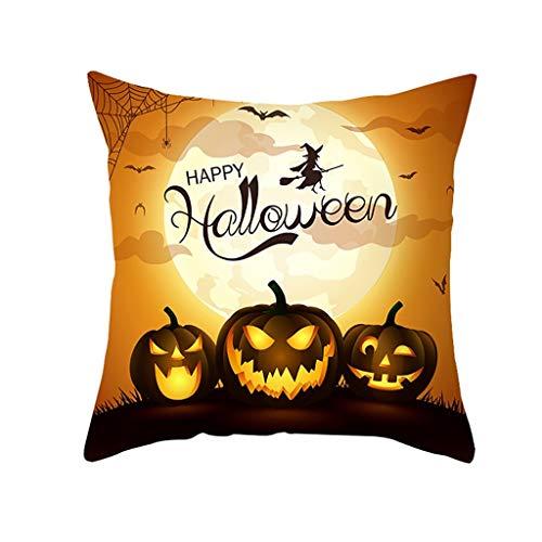 NIUBI Halloween Pillowcase Pumpkin Print Pillowcase Peach Leather Pillowcase
