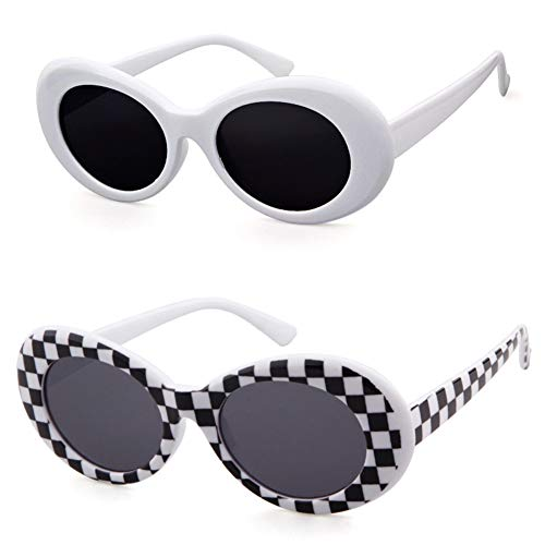 Clout Goggles Retro Vintage Oval Kurt Cobain Inspired Sunglasses Thick Frame Round Lens Glasses (White&Grid, 51)