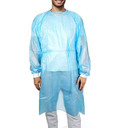 Patient Aid 20-Pack Disposable Impervious Isolation Gown, FDA Registered, AAMI PB 70 Level 2, PP+PE, 40gsm, Full Back, 63