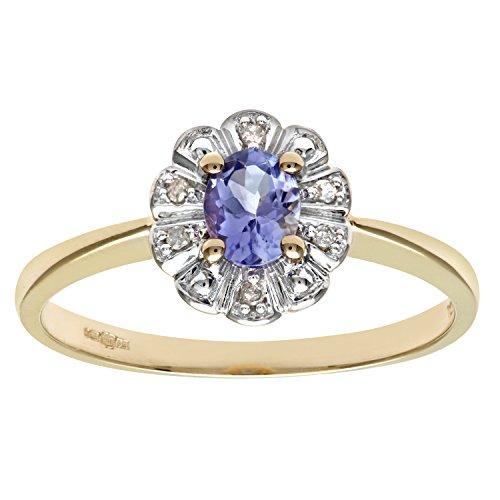 Naava Women's 9 ct Yellow Gold Tanzanite and Diamond Flower Cluster Ring