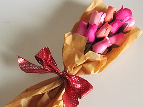 Dozen Pink Fake Rose Scented Wooden Flowers Artificial Roses With Stems Flower Bouquet With Refresher Spray In Box