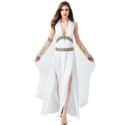 Lhlxs Medieval Weiß Altgriechischemythologie Olympus Zeus Hera Abendkleid Toga Gott Göttin Kostüm,M
