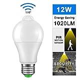 Lampadine con Sensore di Movimento a LED, SUNJULY E27 Lampadina con Sensore di Luce PIR Lampada di Accensione/Spegnimento Automatica per Esterni [Classe energetica A +] (12W 3000K)
