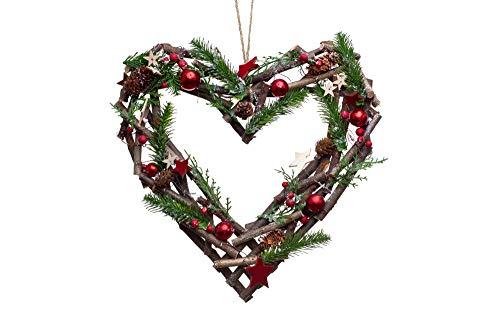 Heitmann Deco dekoriertes Weihnachtsherz - Kranz - Adventszeit - Deko - Schmuck - Tannenzweige - Kugeln - Sterne - braun,rot,grün - ca. 35 x 35 x 8 cm