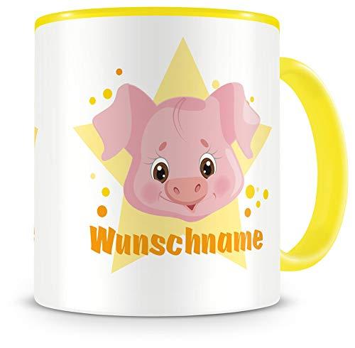 Samunshi® Kindertasse mit Namen Tasse lustiges Schwein Personalisierte Tasse mit Namen Kinder Kinderbecher mit Namen Kindergarten gelb 300ml
