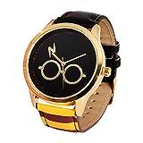 Elbenwald Harry Potter Armbanduhr mit Brille und Blitz Motiv auf dem Ziffernblatt und Armband im Gryffindor Design für Damen schwarz rot Gold