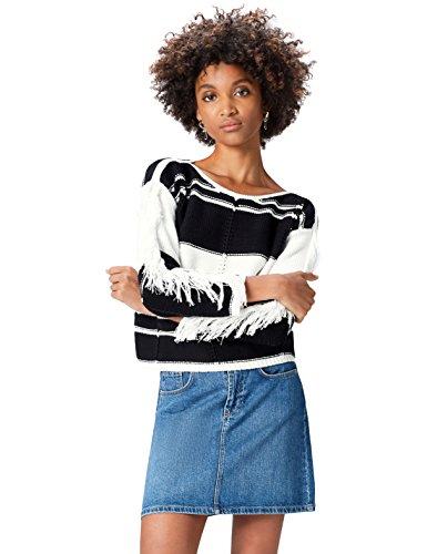 find. Pullover Damen mit Strickmuster und Fransen, Schwarz (Black/white), 38 (Herstellergröße: Medium)