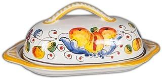 Hand Painted Italian Ceramic Miele Butter Dish - Handmade in Deruta