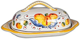 Hand Painted Italian Ceramic Miele Butter Dish - Handmade in Deruta