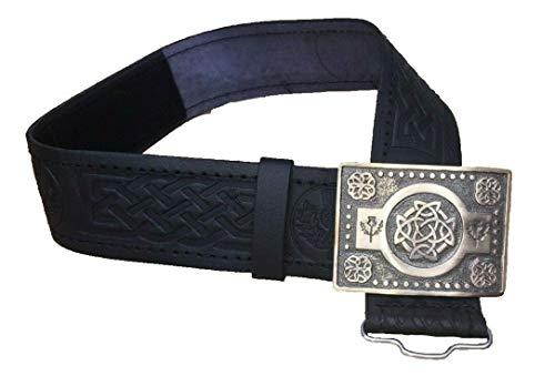 Black Leather Thistle Design Scottish Highland Kilt Belt With Antique Finish Buckle