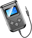 Visible Bluetooth Transmitter and Receiver, 2-IN-1 Wireless Audio Transmitter Receiver with Display Screen, Stereo Audio Aux Bluetooth Dongle Transmitter for TV PC iPod Car