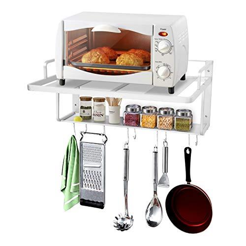 Cocoarm - Estantería para Horno microondas, Doble Capa, Soporte de Pared para microondas, Organizador de Almacenamiento con Gancho para Cocina, 55 x 38,5 x 25 cm
