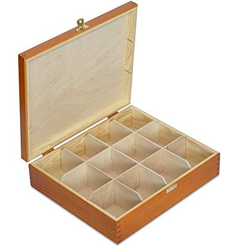 Creative Deco Hell-Braune Tee-Box aus Natürliches Kiefernholz | 29 x 25 x 7,5 cm | mit 12 Fächer und Deckel | Tee-Organizer | Perfekte Tee-Kiste für Decoupage, Dekoration Lagerung der Teebeutel