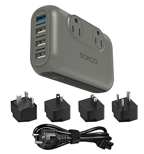 SOKOO 200-Watt 100-220V to 110V Voltage Converter, International Power Converter /Travel Adapter- Use for EU/UK/AU/US/India More Than 150 Countries, USB Quick Charger 3.0 Grey