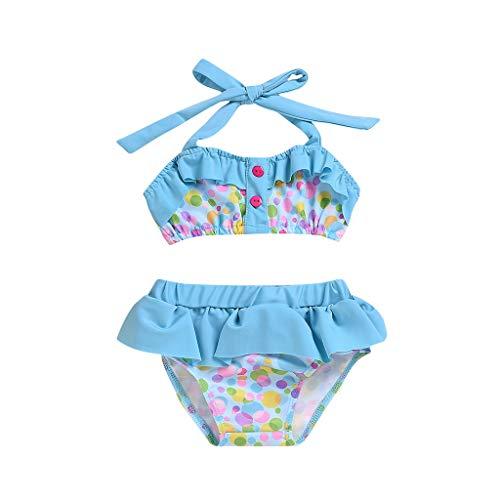 upxiang - Traje de baño para niña de dos piezas, estampado de lunares sin mangas, sin respaldo, con volantes para la playa, la piscina y el verano azul claro 3 años