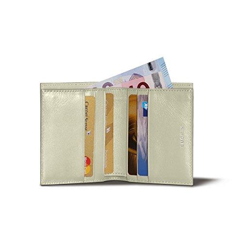 Lucrin - Porta carte di credito e biglietti - Vacchetta liscia - Pelle - Bianco Sporco