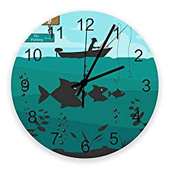 Round Wall Silence Clock Boat Go Fishing Non-Ticking Battery Operated Clock Ocean Fish Wooden Wall Decor Clock for Bedroom Living Room Office School