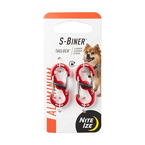 Nite Ize S-Biner TAGLOCK Clipe duplo mosquetão para etiquetas de cachorro com trava segura, alumínio/vermelho, pacote com 2, NI-PLSBMA-10-2R6